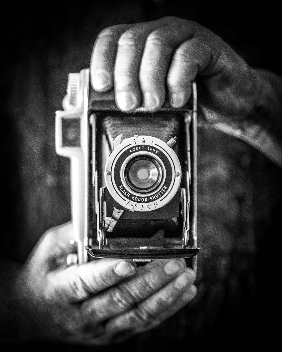 Vintage Camera, with hands