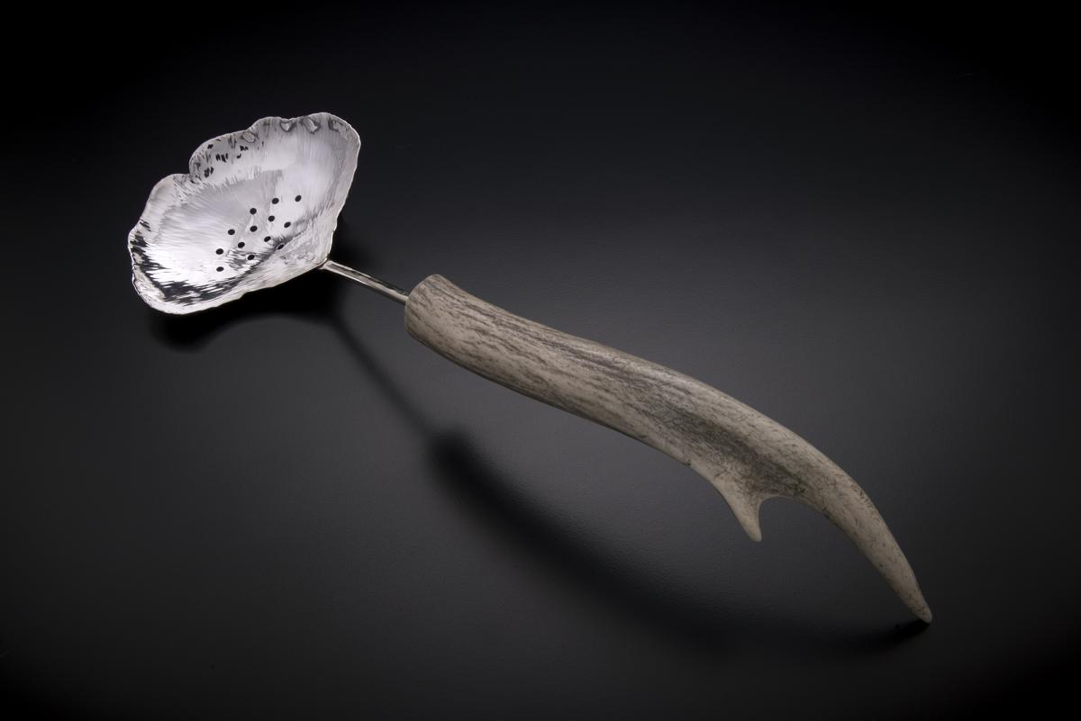Silver Ginkgo Pierced Spoon with Antler Handle