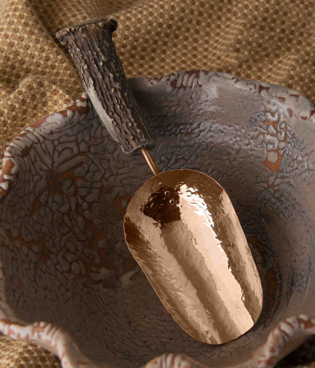 Copper Large Ice Scoop with Naturally-Shed Burr Antler Handle