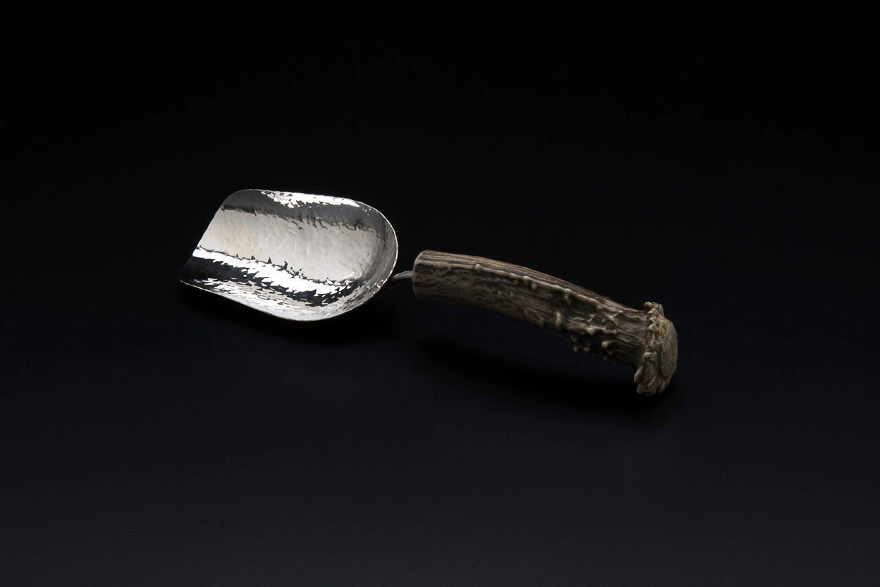 Silver Small Ice Scoop with Naturally-Shed Burr Antler Handle