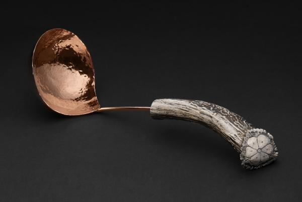 Copper Soup Ladle with Burr Antler Handle
