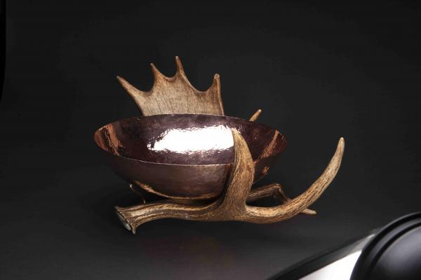 Copper Bowl with Naturally-Shed Moose Antler Stand - 14 inch