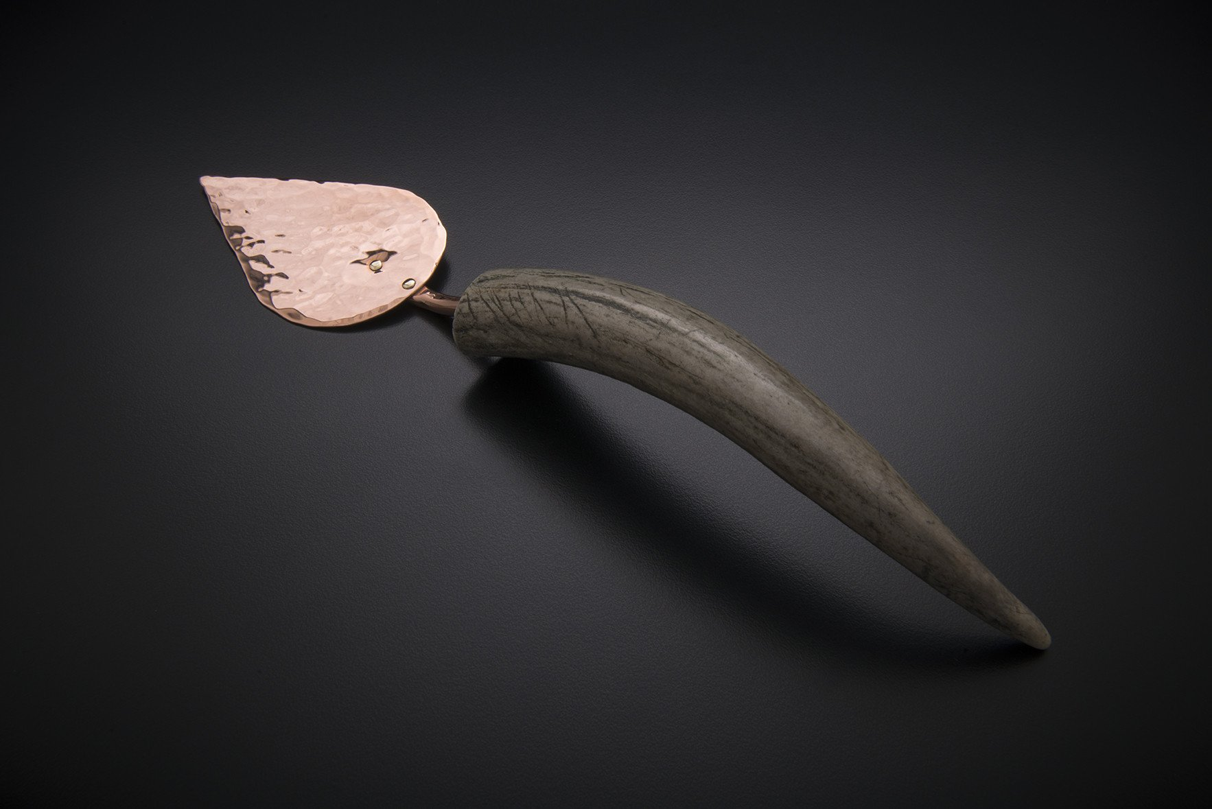 Copper Brie Server with Naturally-Shed Antler Handle