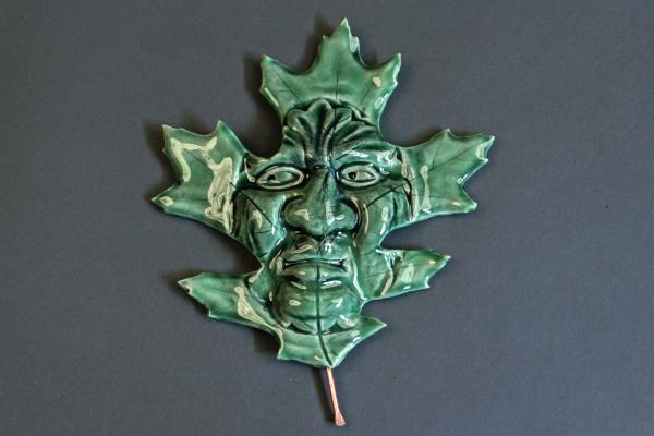 Red Oak GreenMan- Ceramic Hanging Leaf Face