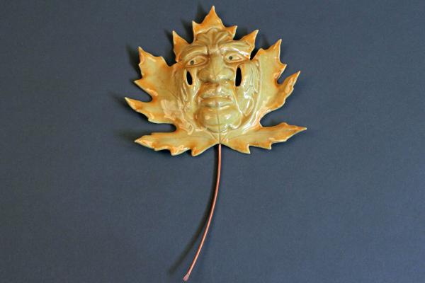 Big Leaf Maple Green Man-Ceramic Hanging Leaf Face