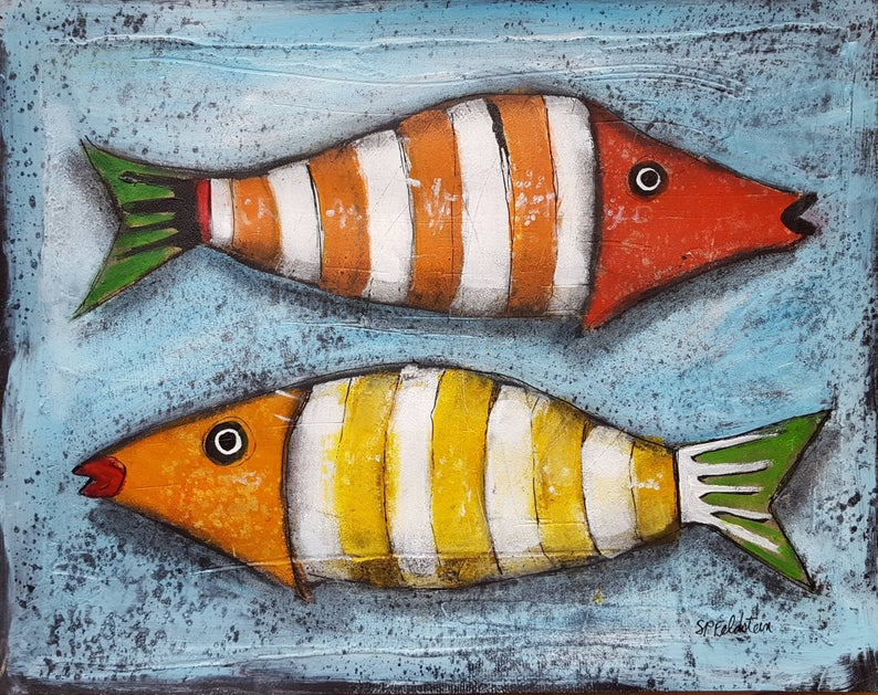 Whimsical FISH Painting | 11x14