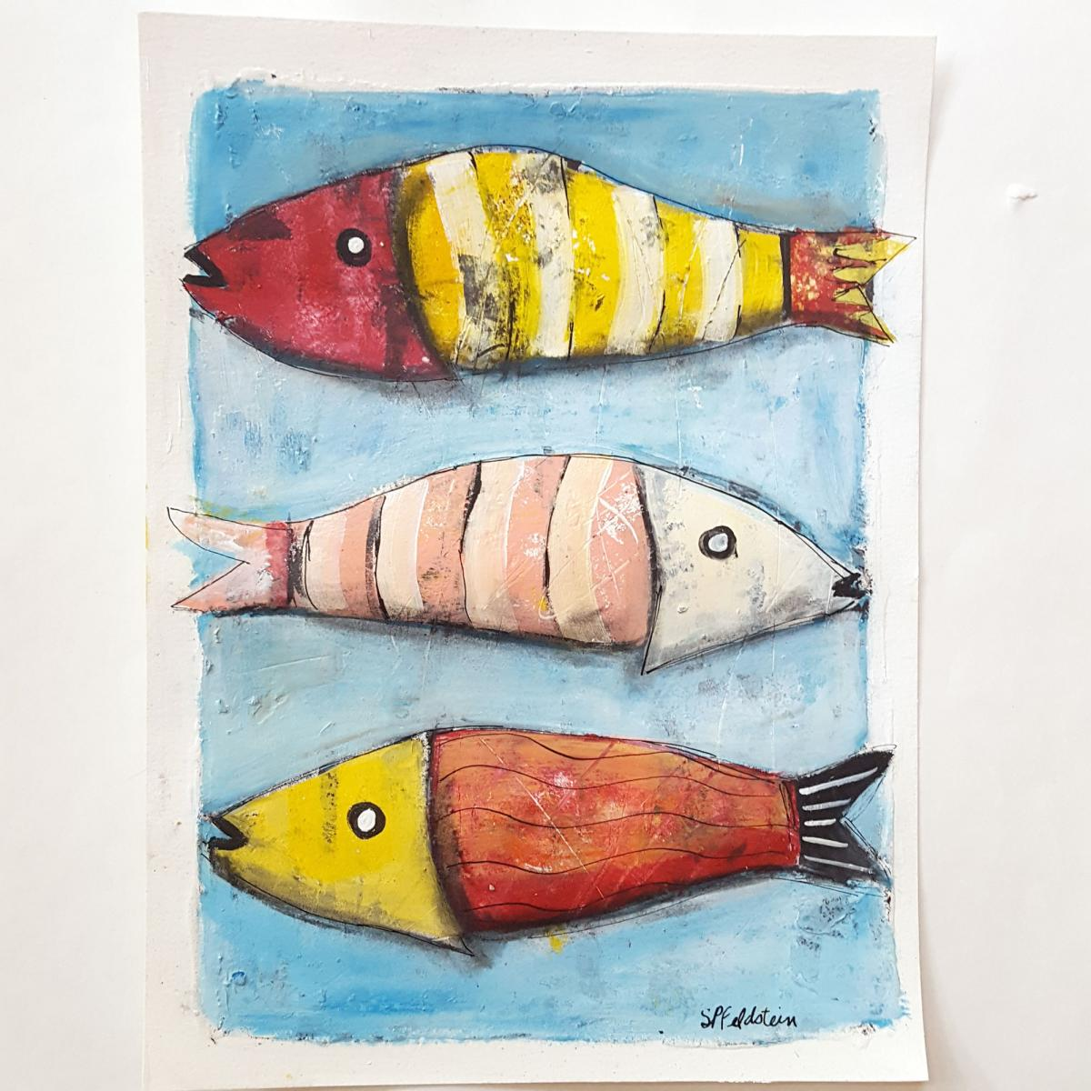 COLORFUL FISH Painting | 9x12