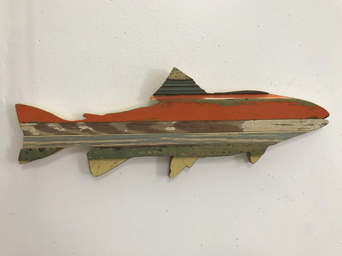 wall art, wood trout