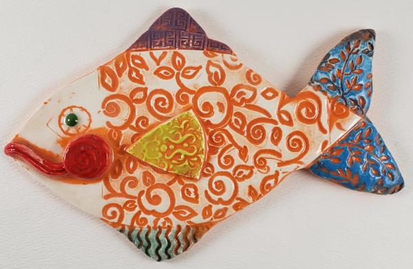 Orange Swirled Ceramic Fish