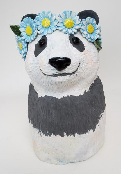 Patsy the Panda Bear Wearing a Daisy Headband
