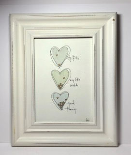 He fills my life with good things - watercolor hearts