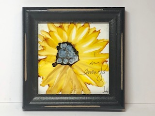 Small Sunflower -I am enough - Alcohol ink