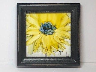 Small sunflower - Hope - Alcohol ink