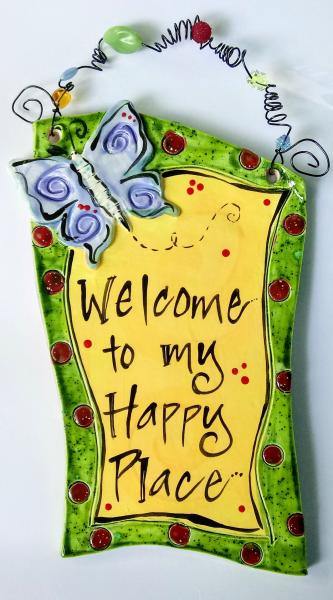 Welcome Plaque with Blue Butterfly