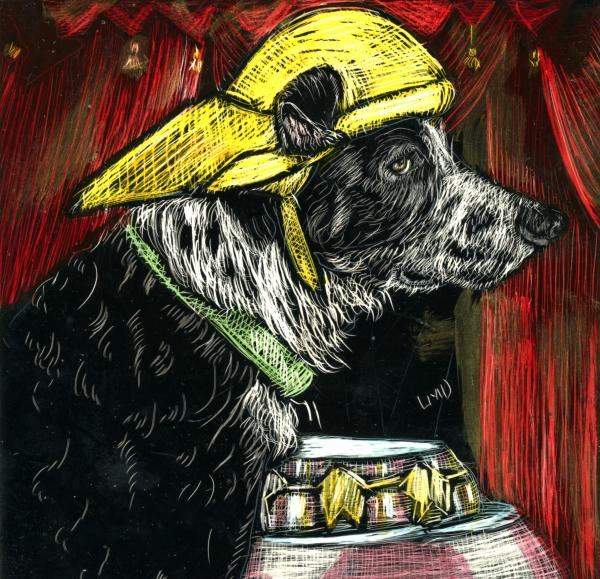 """Said the Dog with the yellow hat""."