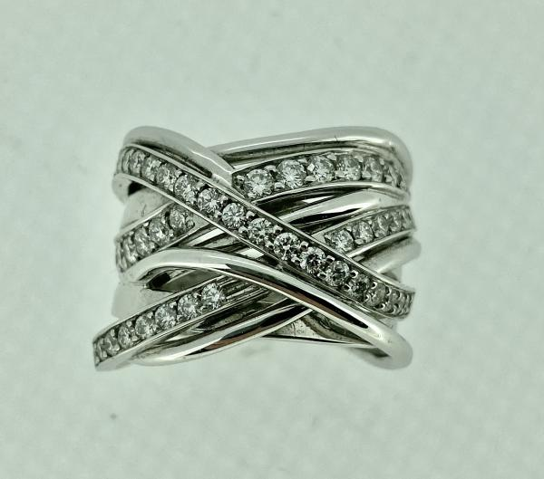 Diamond Crossover Coil Ring