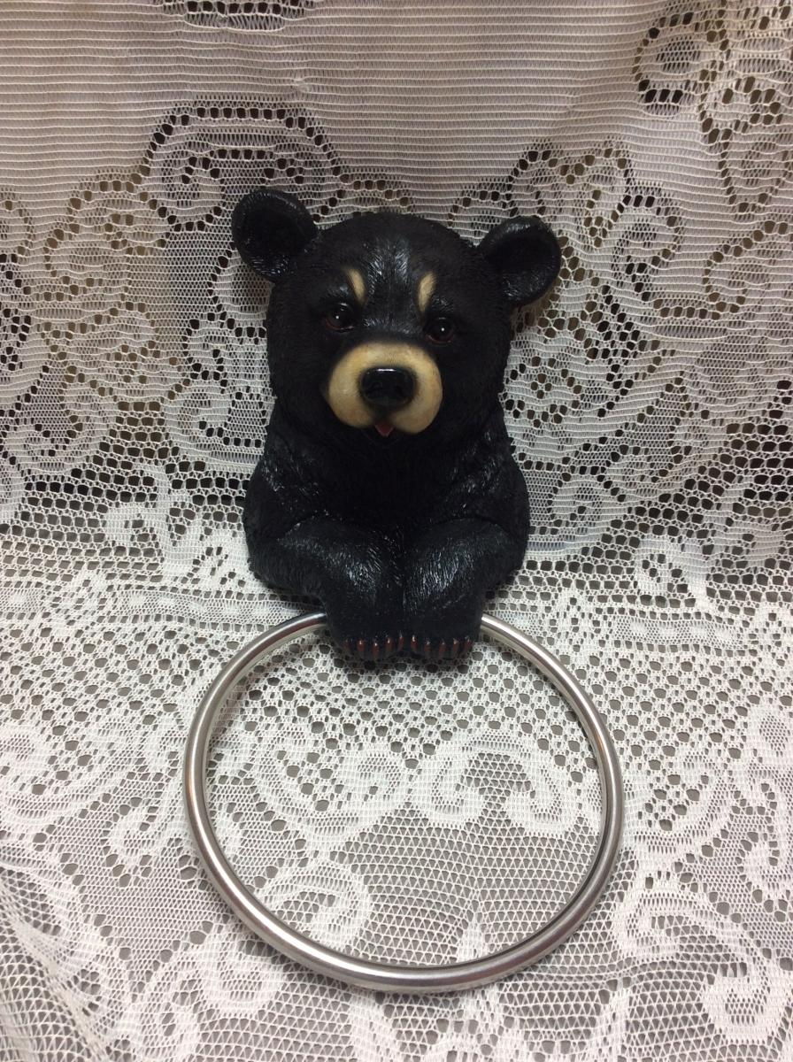 Black Bear Towel Holder