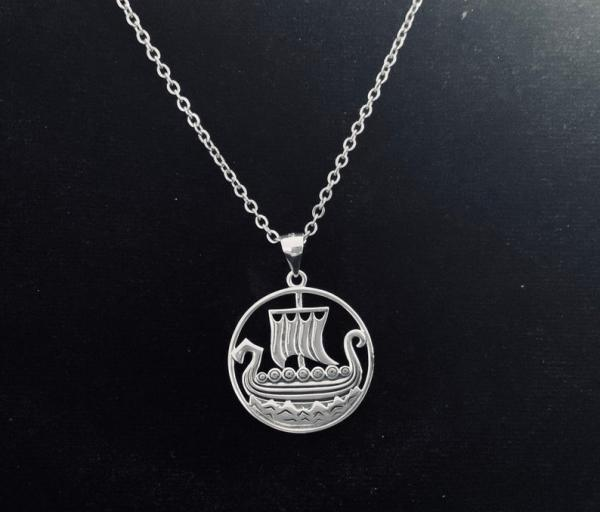 Sterling Silver Viking Ship Pendant picture