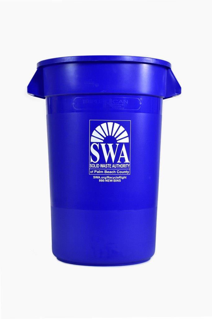 Blue 25-Gallon Recycling Bin