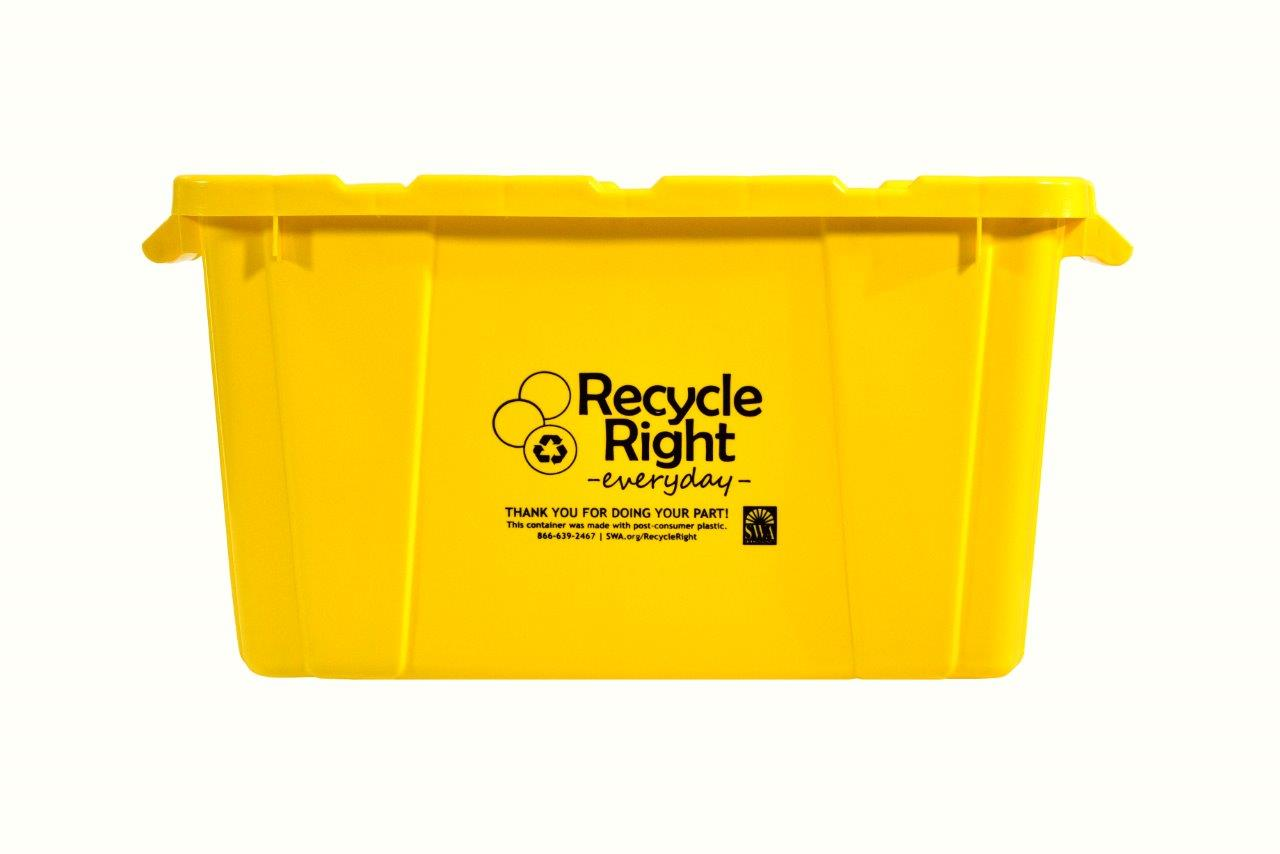 Yellow 18-Gallon Recycling Bin