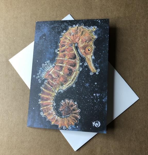 Copper Seahorse Greeting Card