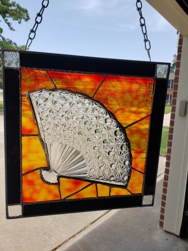 Crystal Plate Fan Stain Glass Panel