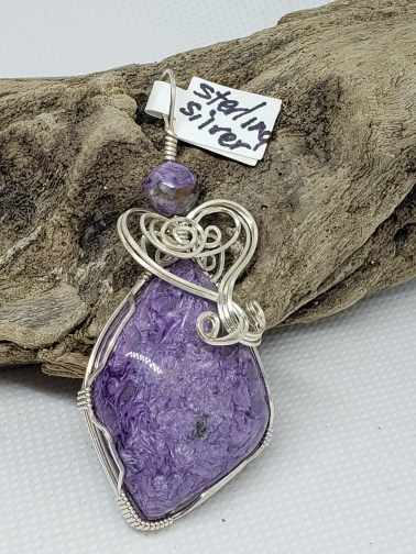 Charoite Pendant in Sterling Silver