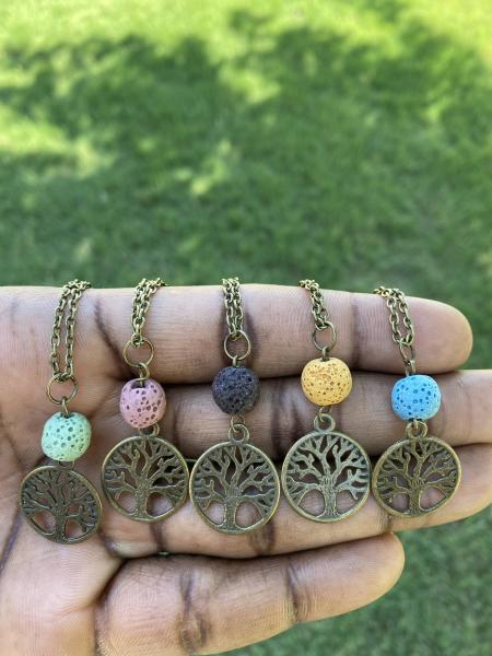 Tree of Life, Lava Bead, Diffuser Necklaces (Antique Bronze) picture