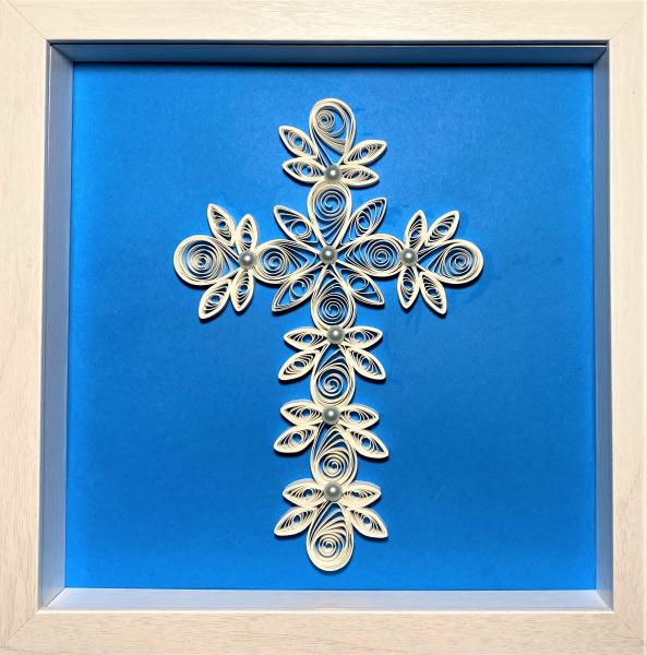 126 Cross - White w/blue background