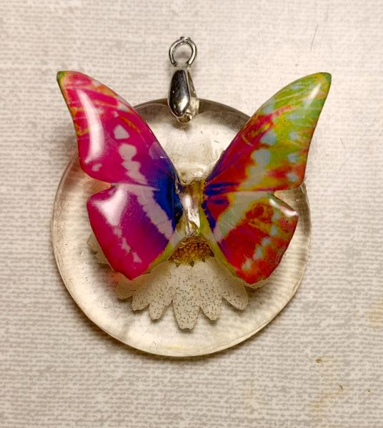 Pink and blue butterfly on real daisy pendant