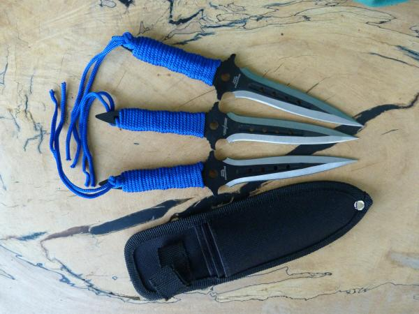 Throwing Knife Set, Blue Wrapped (3) picture