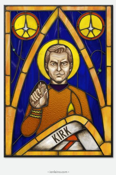 Captain Kirk Icon - Stained Glass window cling