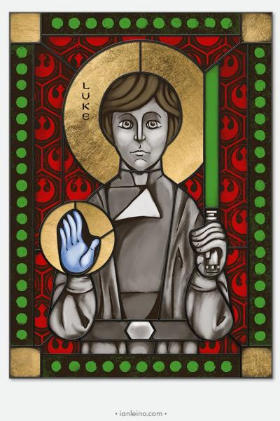 Luke Skywalker- icon style Stained Glass window cling