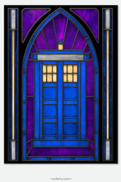 "Doctor Who ""TARDIS"" - Stained Glass window cling"