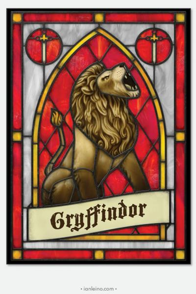 "Hogwarts ""Gryffindor"" - Stained Glass window cling"