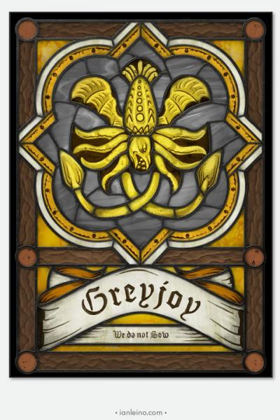 "Game of Thrones ""House Greyjoy"" - Stained Glass window cling"