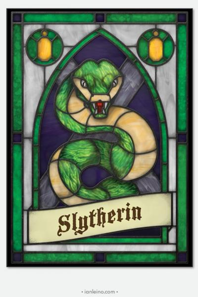 "Hogwarts ""Slytherin"" - Stained Glass window cling"
