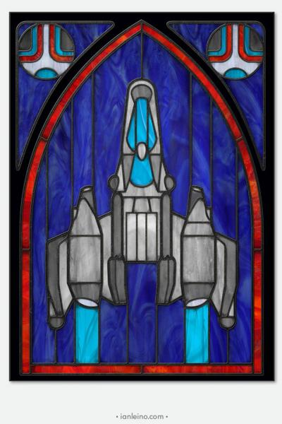 "Last Starfighter ""Gunstar"" - Stained Glass window cling"