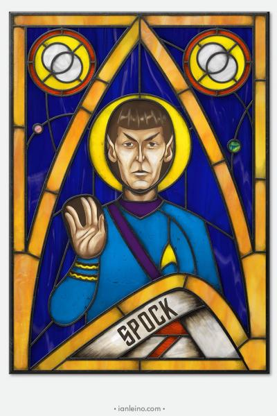 Spock Icon - Stained Glass window cling