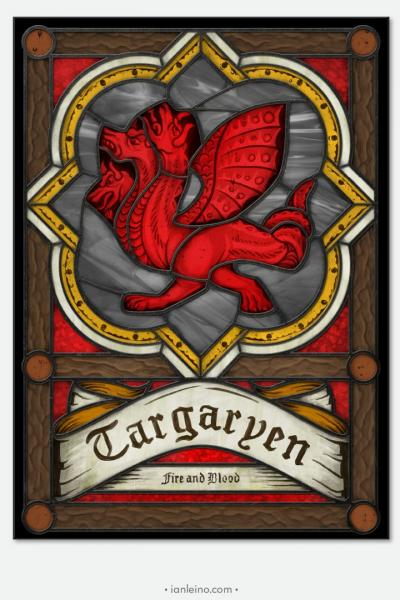 "Game of Thrones ""House Targaryen"" - Stained Glass window cling"