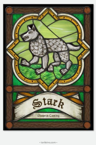 "Game of Thrones ""House Stark"" - Stained Glass window cling"