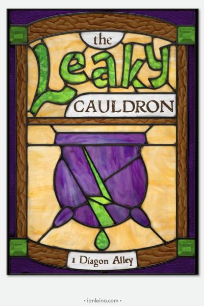 The Leaky Cauldron - Pub Sign Stained Glass window cling