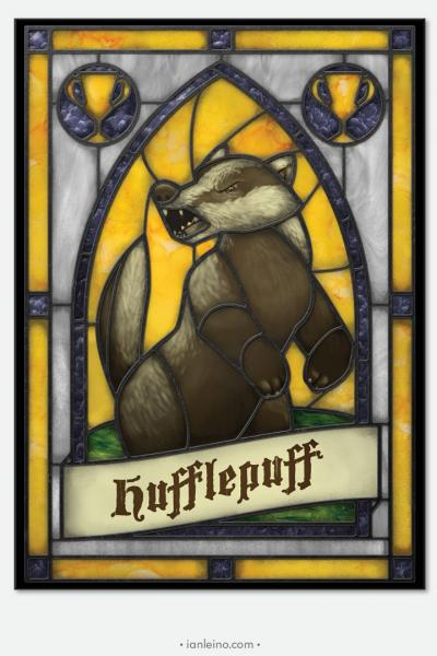 "Hogwarts ""Hufflepuff"" - Stained Glass window cling"