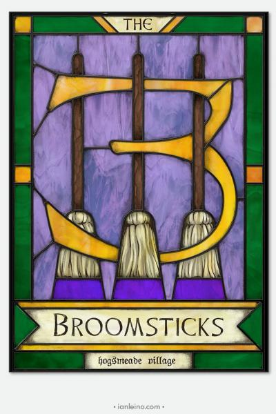 The Three Broomsticks - Pub Sign Stained Glass window cling