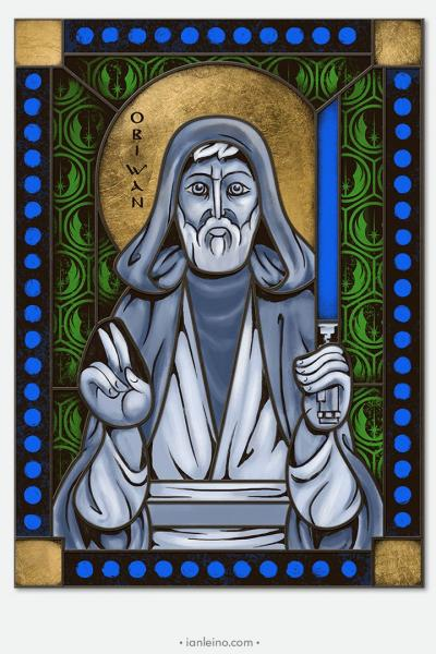 Obi Wan Kenobi - icon style Stained Glass window cling