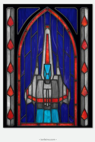 "Battlestar Galactica ""Viper"" - Stained Glass window cling"