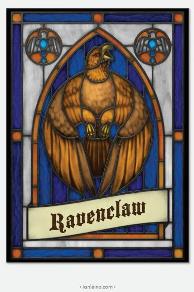 "Hogwarts ""Ravenclaw"" - Stained Glass window cling"