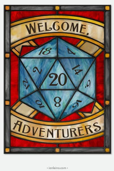 RPG Adventurers - Stained Glass window cling