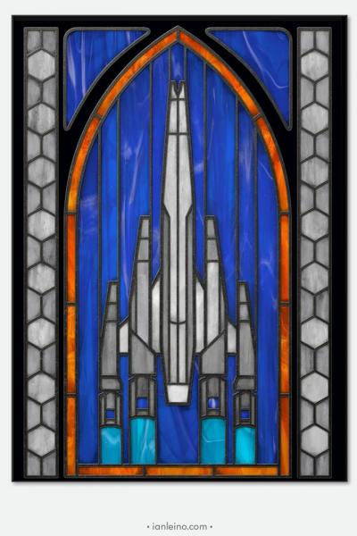 "Mass Effect ""Normandy"" - Stained Glass window cling"