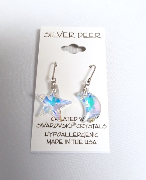 Moon and Stars drop earrings - 734007625422